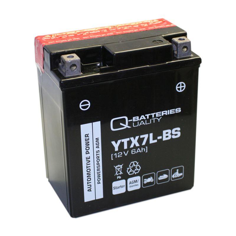 q batteries motorradbatterie ytx7l bs agm 50614 12v 6ah 110a. Black Bedroom Furniture Sets. Home Design Ideas