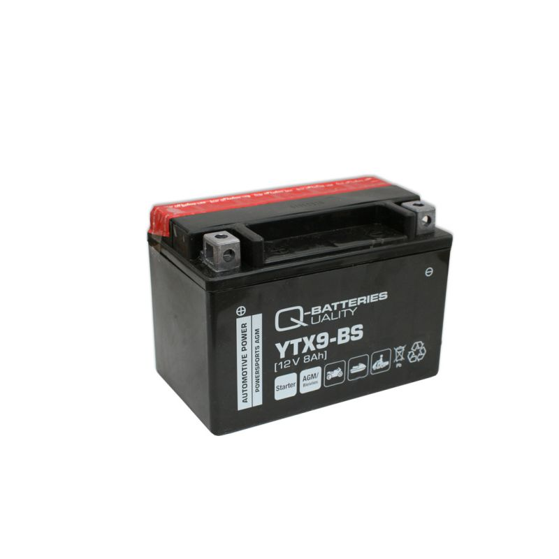 q batteries motorrad batterie ytx9 bs agm 50812 12v 8ah 120a. Black Bedroom Furniture Sets. Home Design Ideas