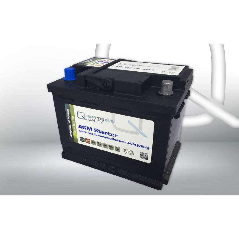 q batteries starter und versorgungsbatterie agm 560 01 12v 60ah 640a. Black Bedroom Furniture Sets. Home Design Ideas